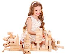 Stock Photo of child play building blocks.