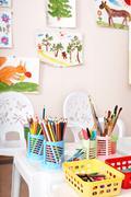 Colorful pencil  in art class. Stock Photos