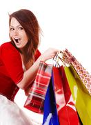 expression girl with shopping bag. - stock photo