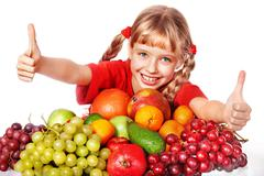 child with group fruit and vegetable. - stock photo