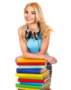 student with stack book. - stock photo