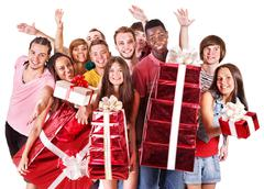 Stock Photo of group people in santa hat.