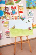 easel in art class. - stock photo