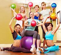 women in aerobics class. - stock photo