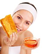 natural homemade   facial masks of honey. - stock photo