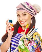 Artist woman with paint palette. Stock Photos
