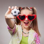 Football fan beautiful young girl Stock Photos