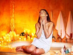 woman relaxing at home bath. - stock photo