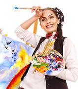 female artist at work. - stock photo