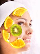 natural homemade fruit  facial masks . - stock photo
