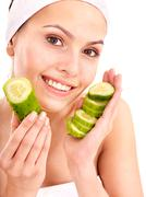 natural homemade vegetables  facial masks . - stock photo