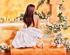 woman at luxury spa. - stock photo