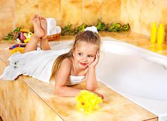 child bathing in bathroom. - stock photo
