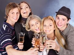 Stock Photo of group young people at nightclub.