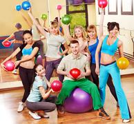Stock Photo of group people in aerobics class.