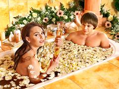 Couple relax  at spa with flower. Stock Photos