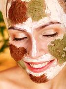 homemade clay  facial masks at home . - stock photo