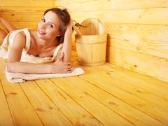 girl in sauna. - stock photo