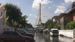 Flooded Road and Rama 8th Bridge p162 Stock Footage