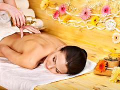 woman getting  massage . - stock photo