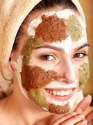 Stock Photo of natural homemade clay  facial masks .