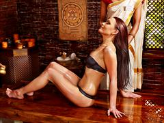 Stock Photo of woman having ayurvedic spa treatment.