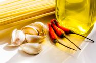 "Stock Photo of spaghetti ""garlic, oil and chili"""