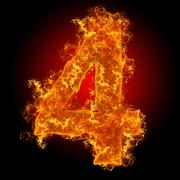 fire number 4 - stock photo