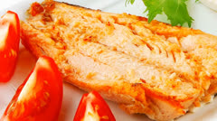 Grilled salmon and tomatoes Stock Footage