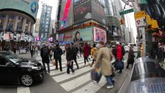 Crowd of people walking at busy intersection time-lapse - stock footage