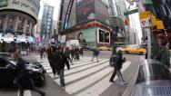 Crowd of people walking at busy intersection time-lapse Stock Footage
