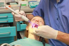Fear of the dentist Stock Photos