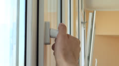 Person open the window Stock Footage