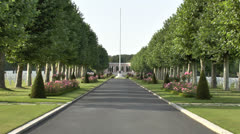 The Oise-Aisne American Cemetery and Memorial, Fère-en-Tardenois, France. Stock Footage