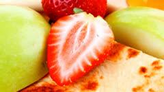 Sweet food : big thin pancake Stock Footage