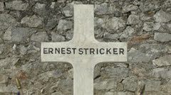 The grave of Ernest Stricker, in the Belleau Local Cemetery, France. Stock Footage