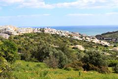 Hillside town of albufeira, algarve, portugal Stock Photos