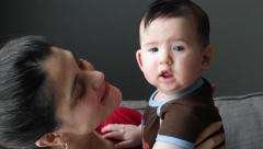 Mom With Curious Baby Stock Footage