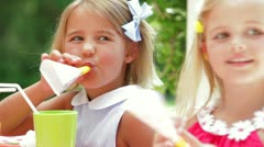 Girls With Party Blowers At Birthday Stock Footage