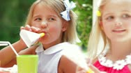 Stock Video Footage of Girls With Party Blowers At Birthday