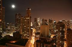 Chicago Downtown ilmakuva night view Kuvituskuvat