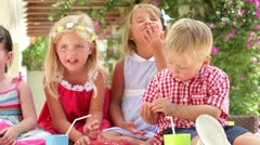 Children Enjoying Food At Party Stock Footage
