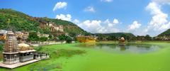 Bundi, india: panoramic view of this wonderful ancient rajasthan city, with l Stock Photos