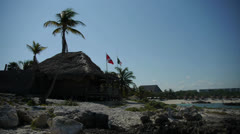 A Hut on a Mexican beach Stock Footage