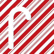 candy cane silhouette on red stripes - stock illustration