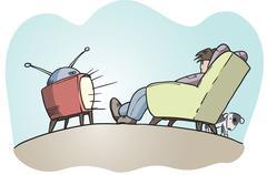 Lazy guy watching tv Stock Illustration