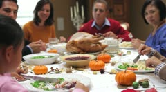 Stock Video Footage of Multi Generation Family Enjoying Thanksgiving Meal
