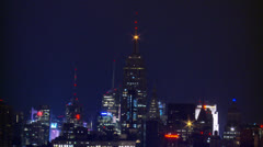 NYC Skyline  Night Time Lapse Stock Footage