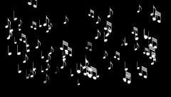 Musical Notes Black Background Stock Footage