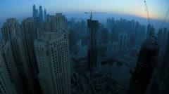 Modern city development, Dubai Marina, UAE, Time Lapse Stock Footage
